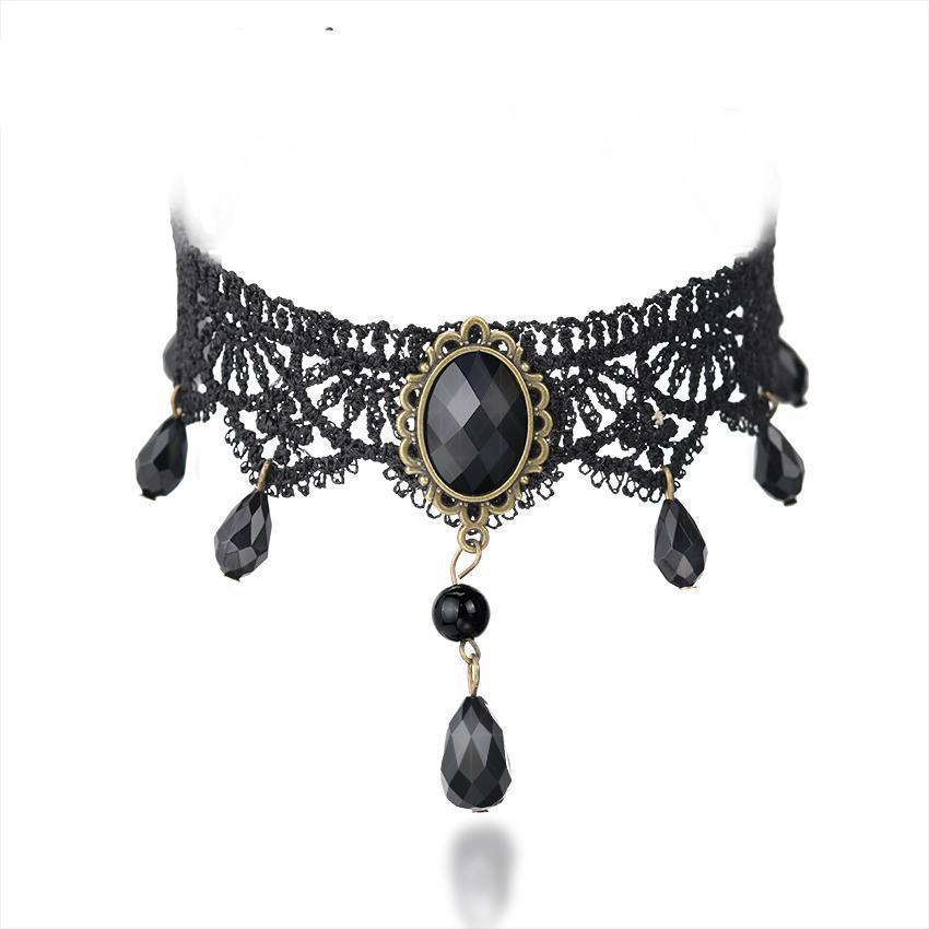 Alternative Black Rhinestone Chokers For Women - The Black Ravens