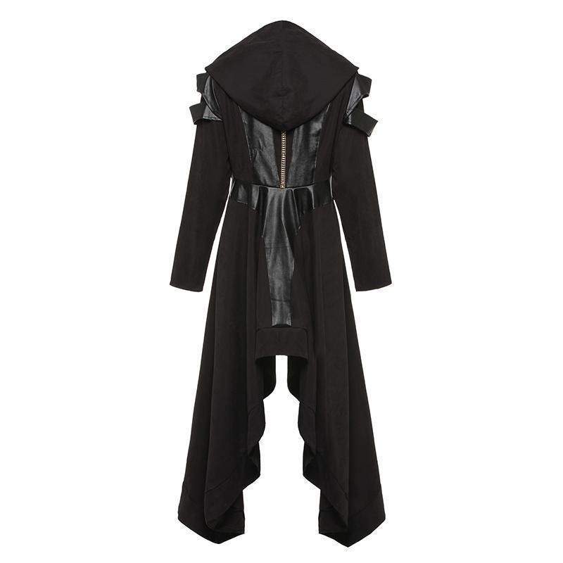 Asymmetrical Lady Vampire Hooded Trench Coat - The Black Ravens
