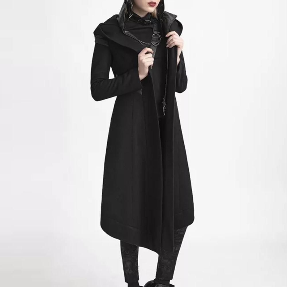 Asymmetrical Lady Vampire Hooded Trench Coat-S-