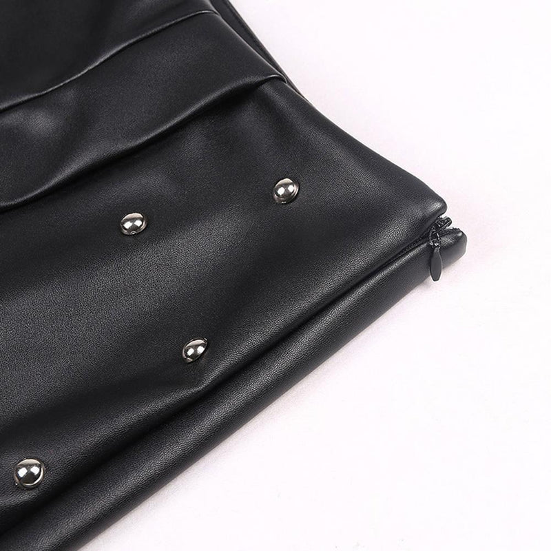 Asymmetrical Punk Leather Mini Skirt-M-