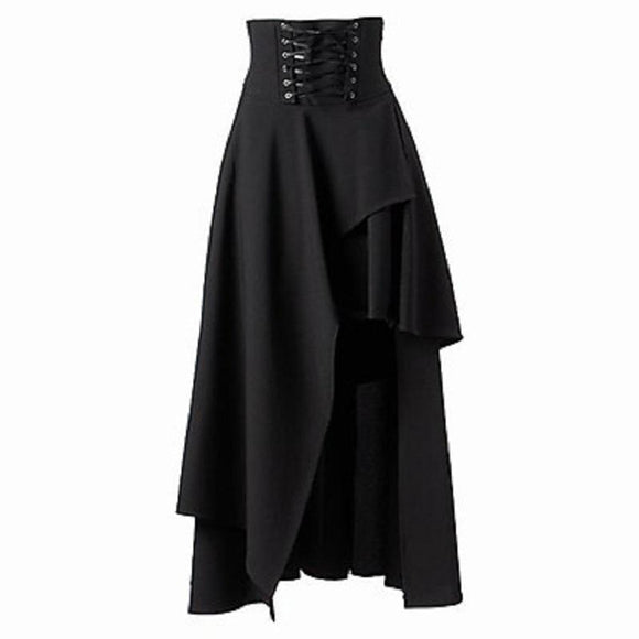 Asymmetrical Retro High Waist Black Skirt-L-