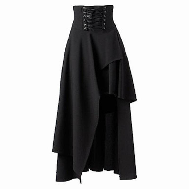 Asymmetrical Retro High Waist Black Skirt - The Black Ravens
