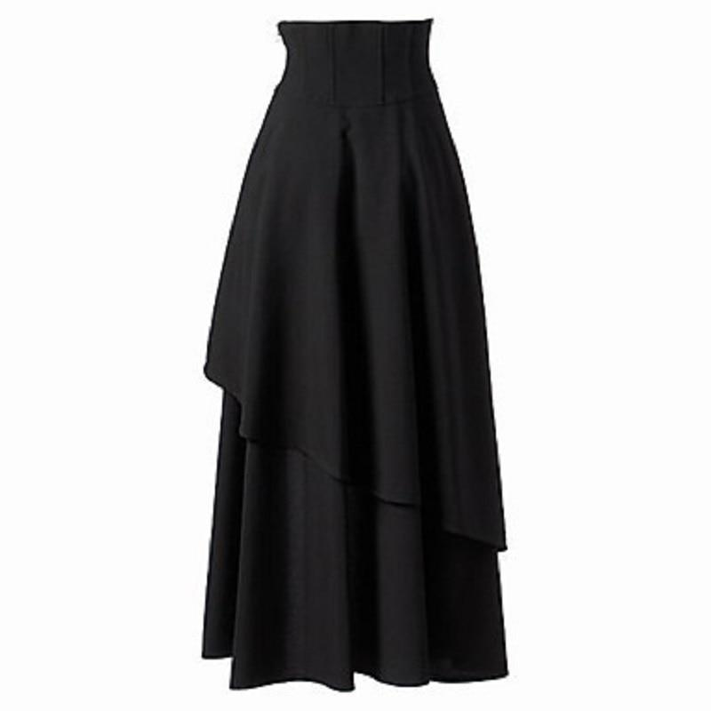 Asymmetrical Retro High Waist Black Skirt-S-