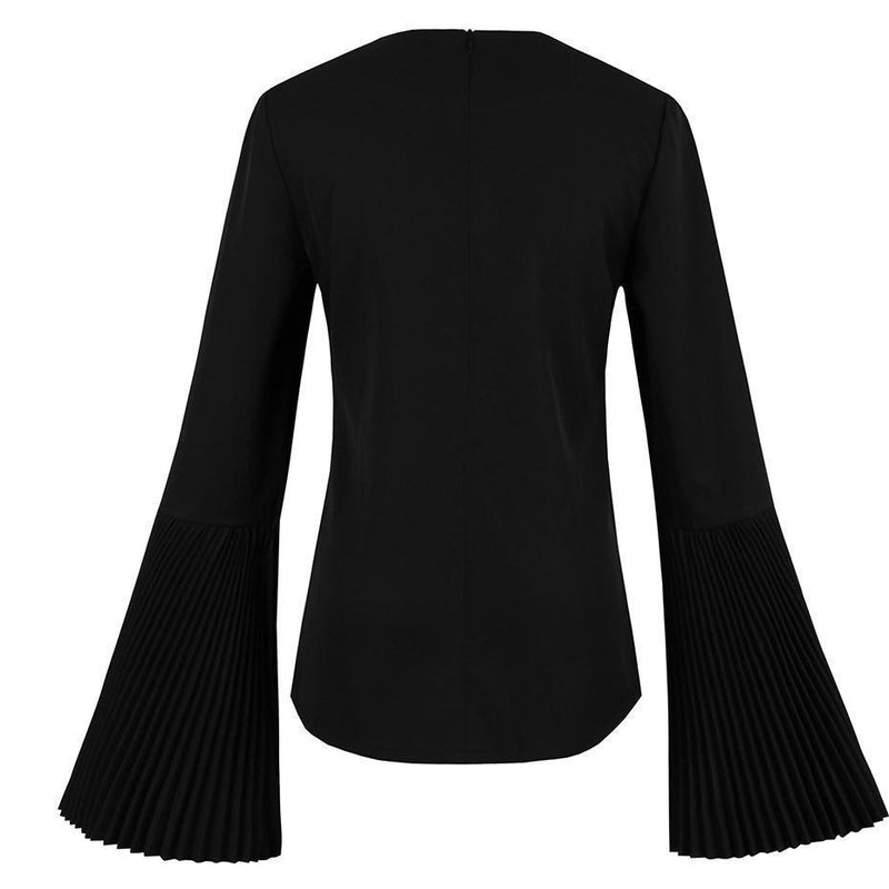 Autumn Gothic Flare Sleeve Blouse Top-Black-S-