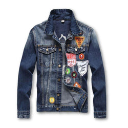 Awesome American Fashion Men's Badge Denim Jacket-M-