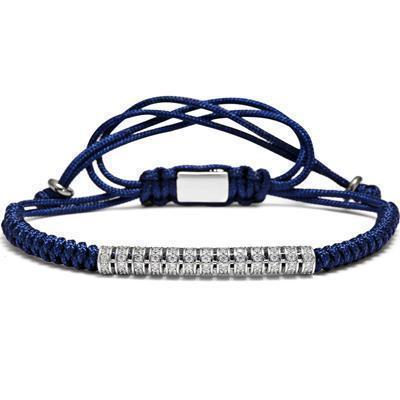 Awesome Handmade Steel Bracelets For Guys-Blue & Silver Line-