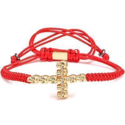 Awesome Handmade Steel Bracelets For Guys-Red & Gold Cross-