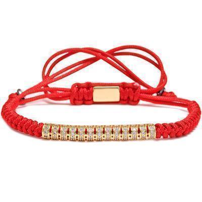 Awesome Handmade Steel Bracelets For Guys-Red & Gold Line-
