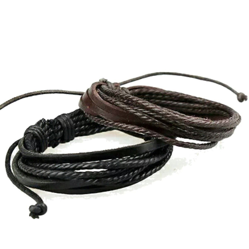 Awesome Rocker Genuine Leather Bracelets For Guys-Black-