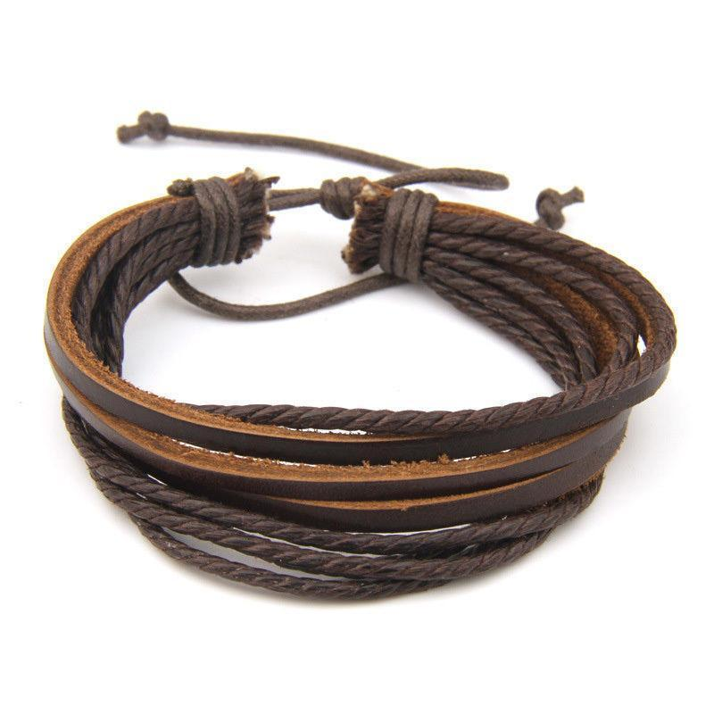 Awesome Rocker Genuine Leather Bracelets For Guys-Brown-