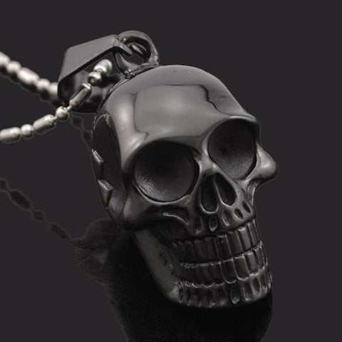 Gothic necklaces for guys the black ravens awesome smiling skeleton head pendant for guys black mozeypictures Images