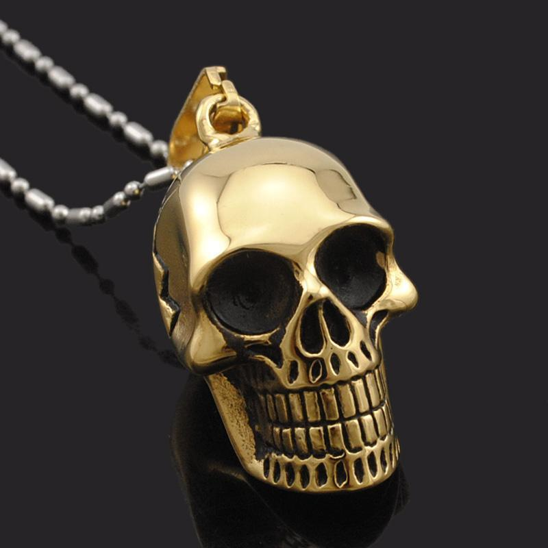 Awesome Smiling Skeleton Head Pendant For Guys-Gold-