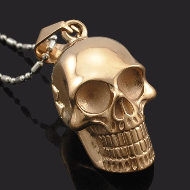 Awesome Smiling Skeleton Head Pendant For Guys-Rose Gold-