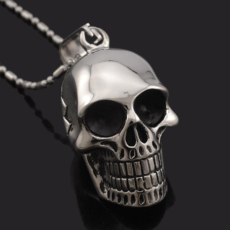 Awesome Smiling Skeleton Head Pendant For Guys-Silver-