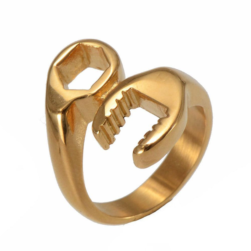 Awesome Unisex Indestructible Funny Tool Rings-13-Gold Color-