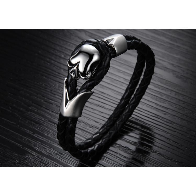 Badass Alternative Skull Head Bangle For Men - The Black Ravens