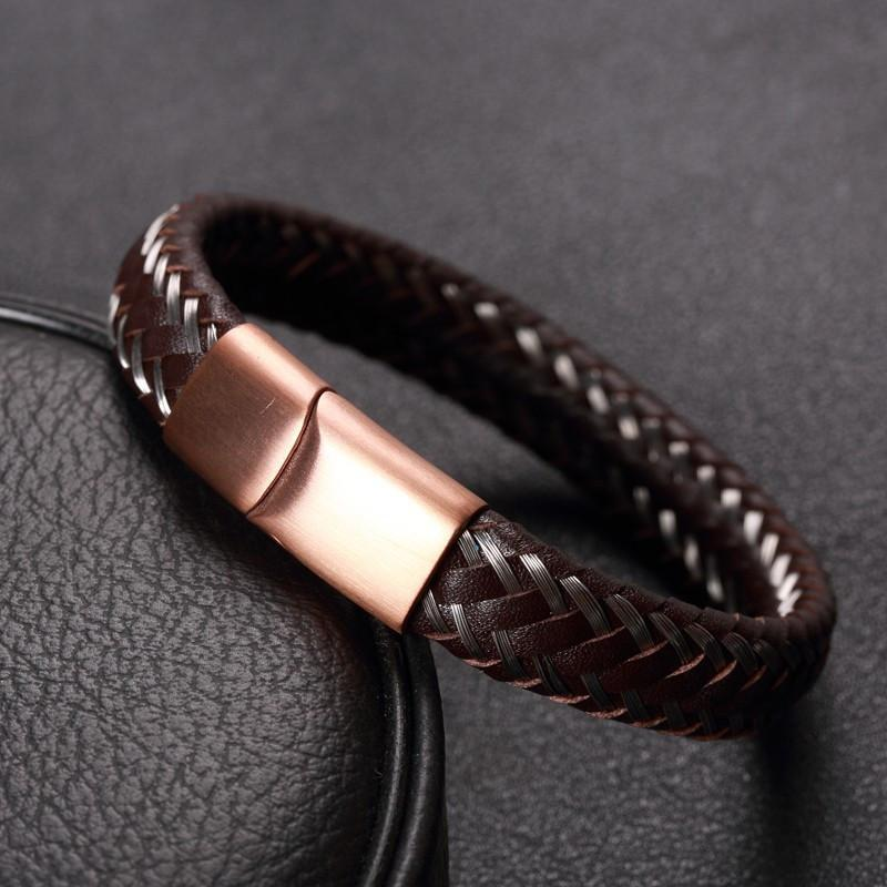 Badass Limited Edition Wire Cable Bracelets For Guys-19Cm-Brown-