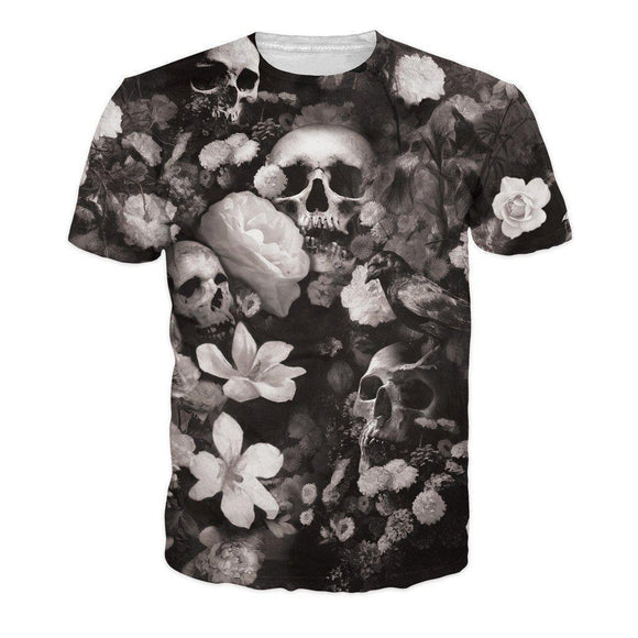 Badass Men's High Definition Realistic Floral Skull Top-XS-