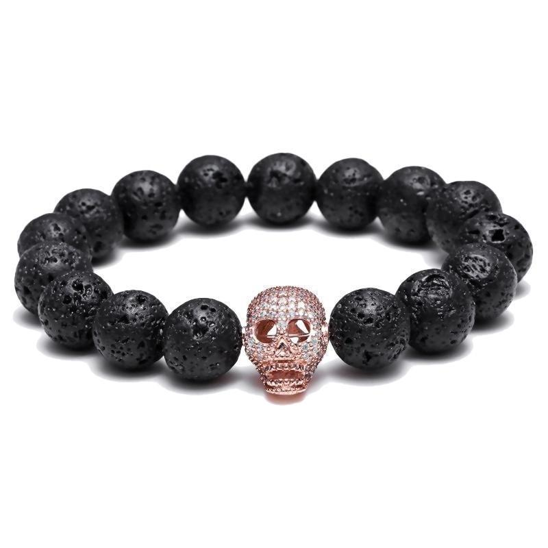 Badass Men's Killer Black Alternative Bracelets-Rose Gold-165Mm/7.5'-
