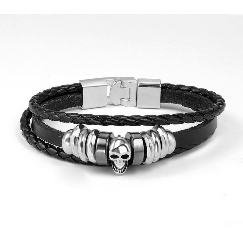 Badass Men's Silver And Black Cow Hide Bracelet-