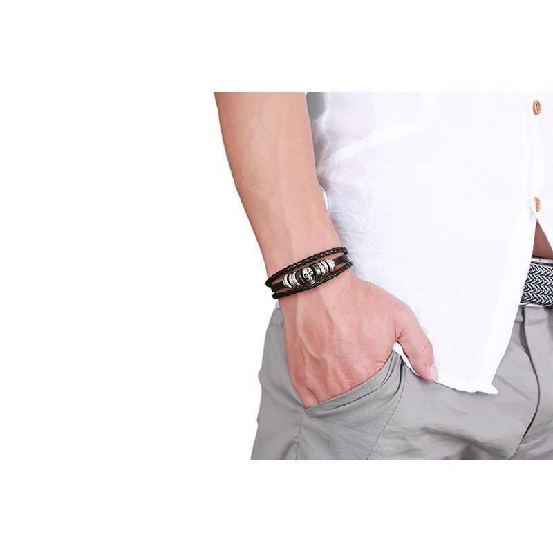 Badass Men's Silver And Black Cow Hide Bracelet - The Black Ravens