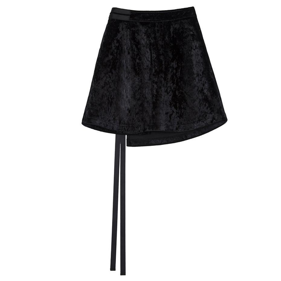 Bandage Mini Fashion Skirt-Black-S-
