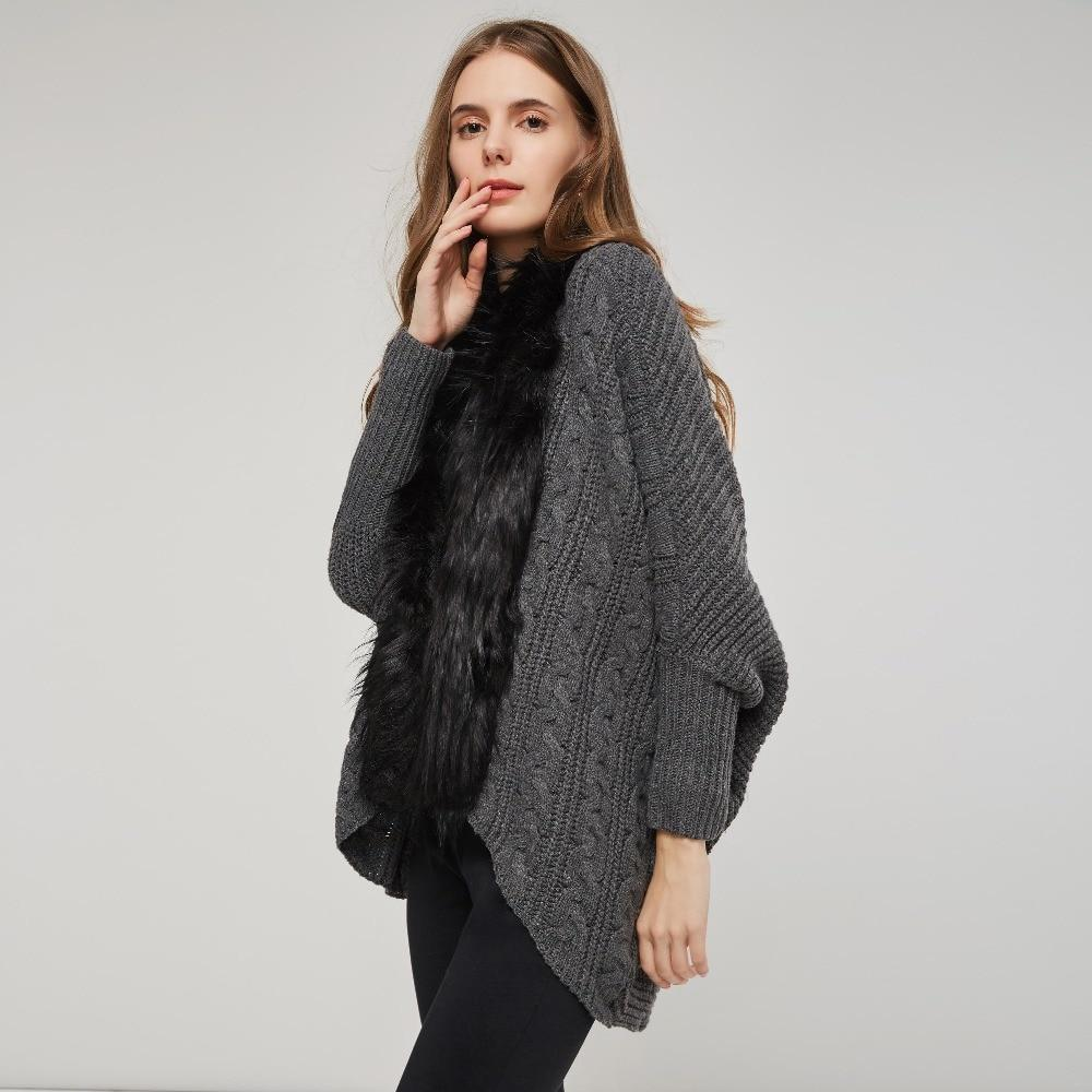 Batwing Wool Ladies' Knitted Cardigan-Dark Gray-