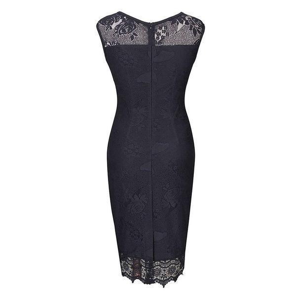 Beautiful And Classy Vintage Pencil Dress-Black-S-