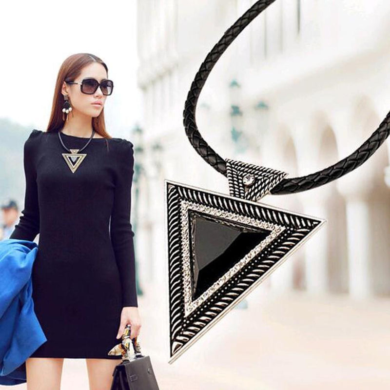 Beautiful Black Triangular Pendants For Women-Gold-
