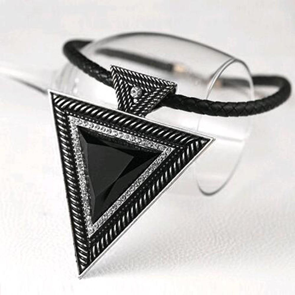 Beautiful Black Triangular Pendants For Women-Silver-