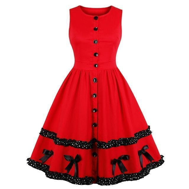 Beautiful Block Lace Sweet Red Dress - The Black Ravens