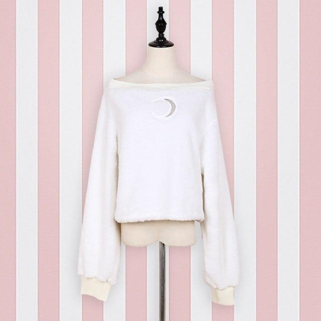 Beautiful Crescent Moon Off-Shoulder Pullover-White-