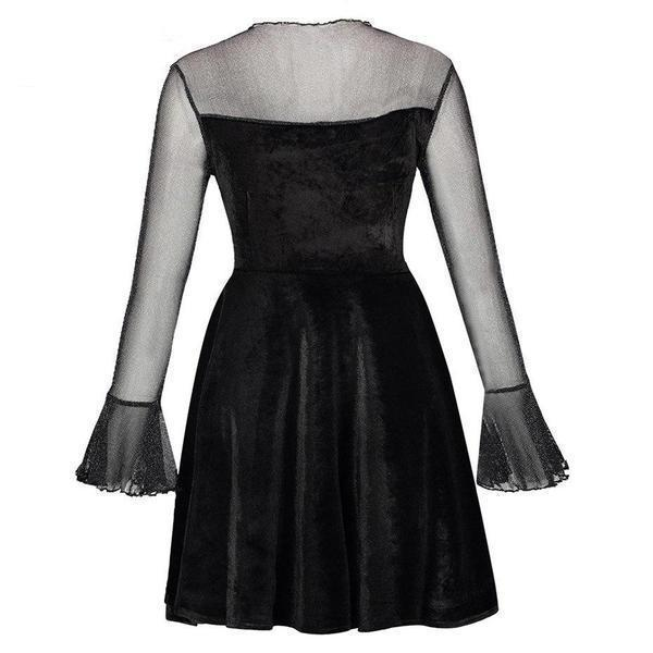 Beautiful Gothic Mesh Sleeves Party Dress-