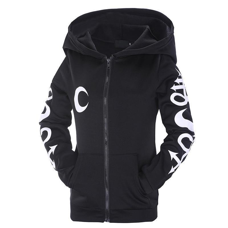 Beautiful Gothic Witch Zip Up Hoodie-S-