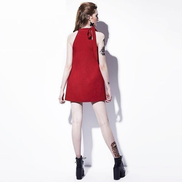 Beautiful Halter Shoulder Red Dress - The Black Ravens