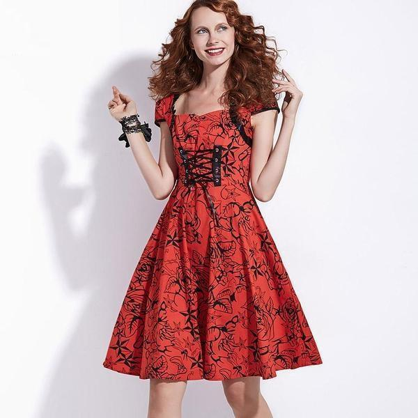 Beautiful Lady In Red Floral Dress-S-