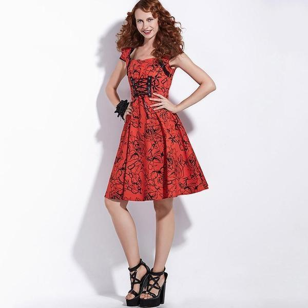 Beautiful Lady In Red Floral Dress - The Black Ravens