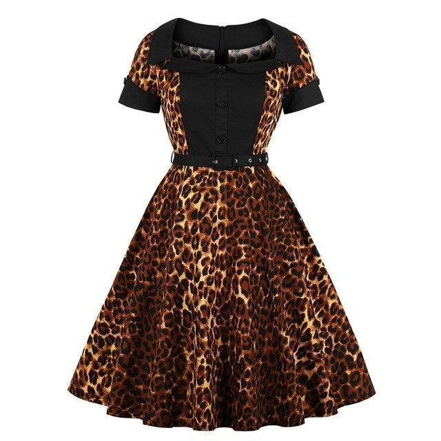 Beautiful Leopard Print Ladies' Vintage Dress - The Black Ravens