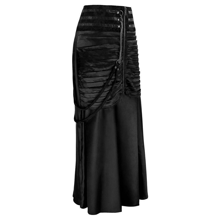 Beautiful Long Black Mermaid Skirt-Black-XS-