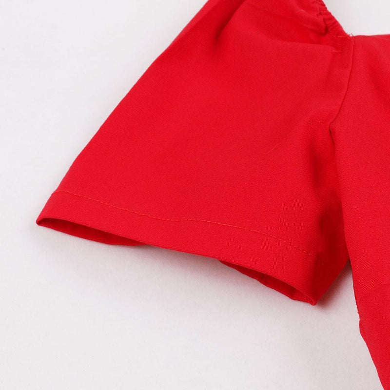 Beautiful Pleated Bowtie Red Dress-S-