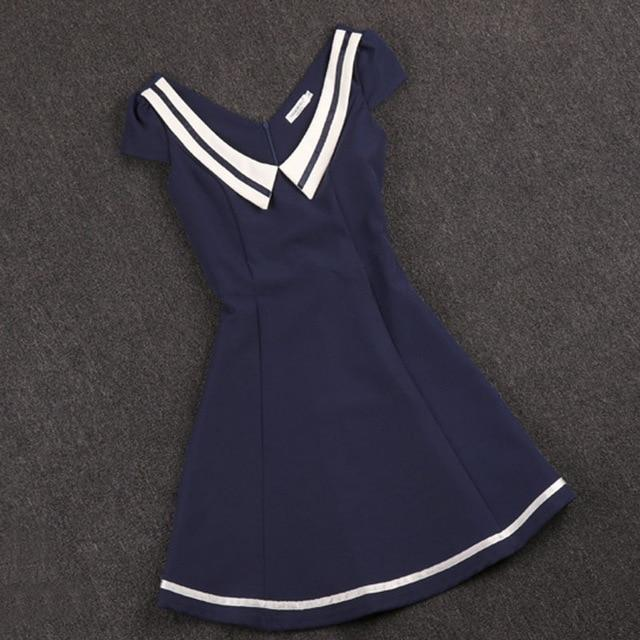 Beautiful Preppy Navy Mini Dress - The Black Ravens