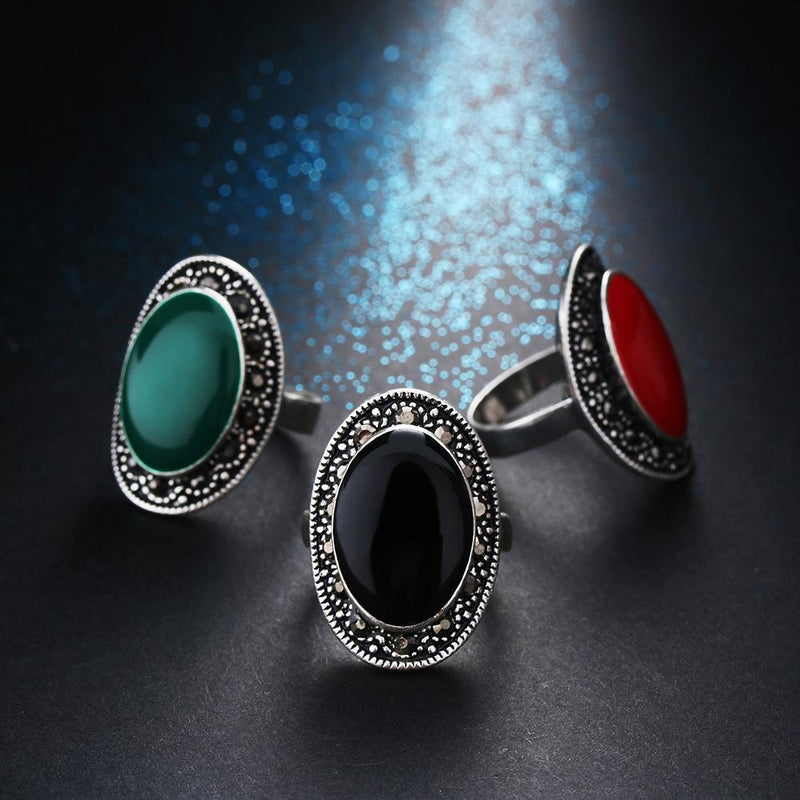 Beautiful Real Silver Gothic Gem Rings For Women-7-Black-Silver Plated