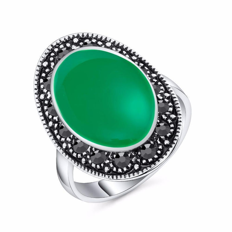 Beautiful Real Silver Gothic Gem Rings For Women-7-Green-Silver Plated