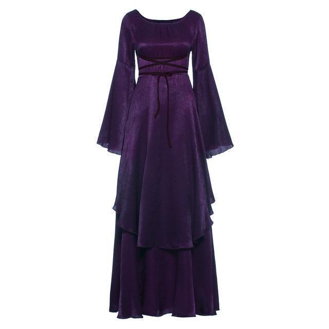 Beautiful Renaissance Ladies' Bandage Dress-Purple-S-