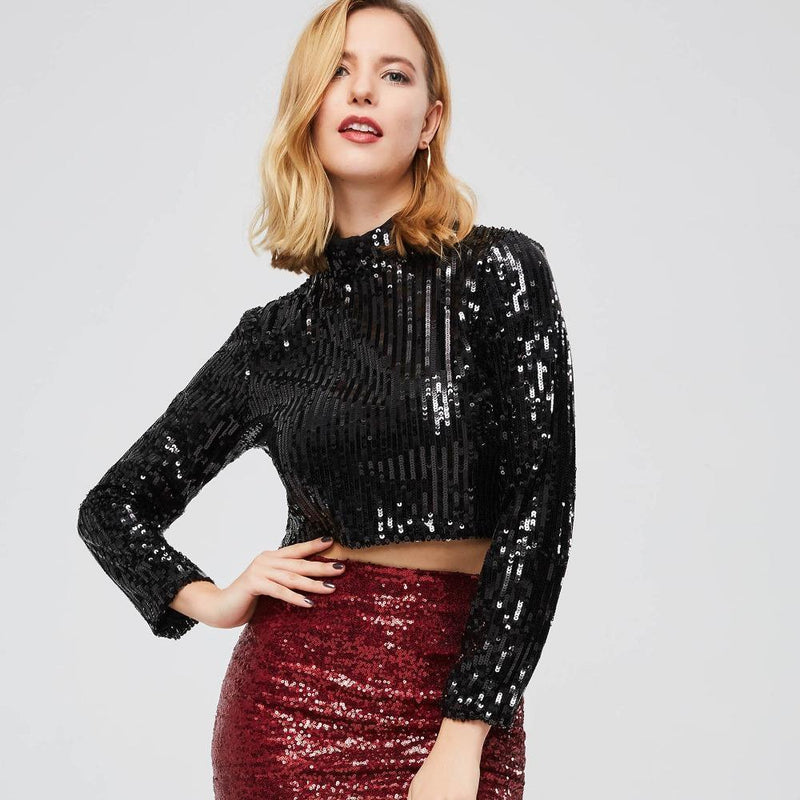 Beautiful Sequined Full-Sleeve Crop Top - The Black Ravens