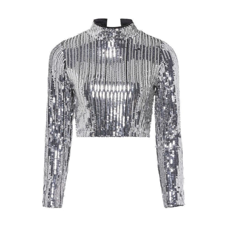 Beautiful Sequined Full-Sleeve Crop Top-Silver-S-