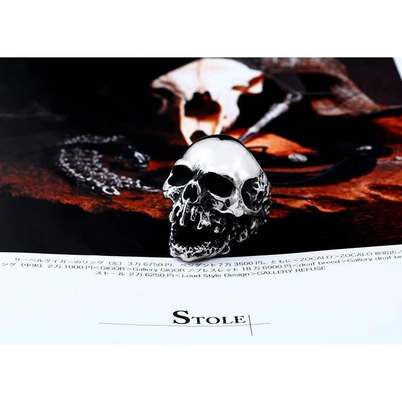 Big Biker Skull Stainless Steel Rings - The Black Ravens