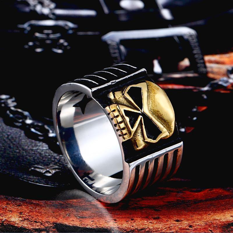 Biker's Skeleton Ring For Men-7-Gold-
