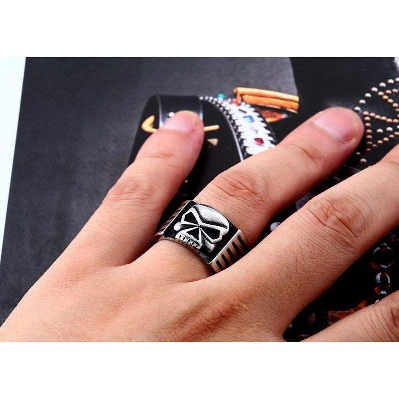 Biker's Skeleton Ring For Men-7-White-