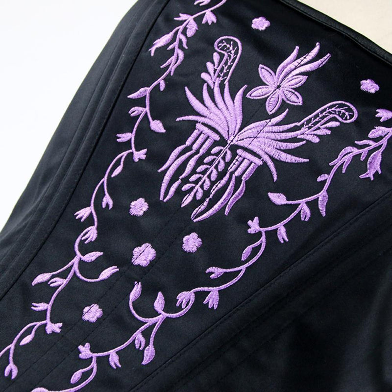 Black and Purple Floral Pattern Punk Corset - The Black Ravens